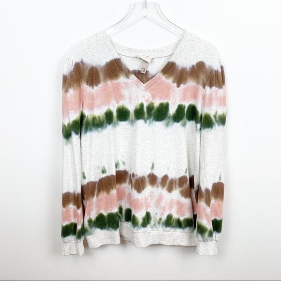 Knox Rose | Tie Dye Puff Sleeve V-Neck Sweatshirt